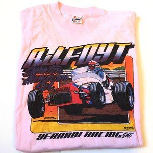 Rare vintage AJ Foyt racing t shirt pink 1987'